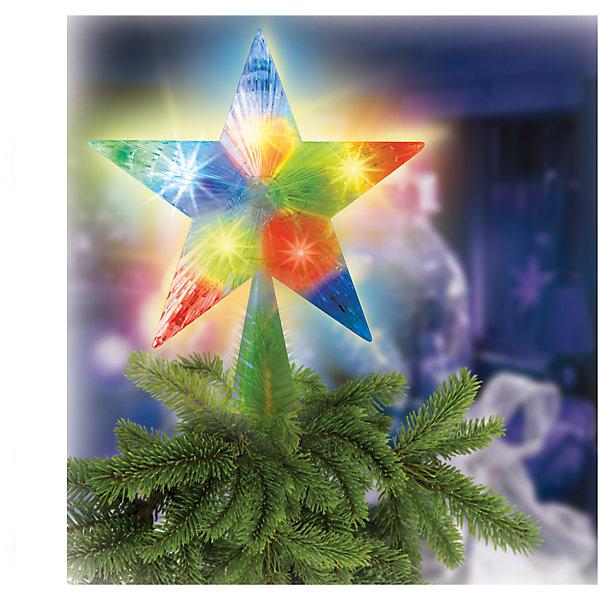 Украшение на елку Звезда с двухцветными светодиодами, 16 см 10 LEDЁлочные игрушки<br>Характеристики товара:<br><br>• возраст: от 3 лет;<br>• упаковка: картонная коробка;<br>• вес: 90 гр.;<br>• тип ламп: светодиоды;<br>• количество ламп: 10 шт.;<br>• цвет свечения: мульти;<br>• диаметр звезды: 16 см.;<br>• длина сетевого шнура: 1,5 м;<br>• размер упаковки: 17x3,8x19 см;<br>• материал: пластик;<br>• бренд, страна бренда: B&amp;H;<br>• страна-производитель: Китай.<br><br>Украшение на елку «Звезда» применяется для украшения новогодних елок.  Двухцветные светодиоды, в количестве 10 штук, придают звезде особую красочность и нарядность. Зеленый цвет сетевого шнура незаметен на елке. Цвет свечения диодов: синий/красный - 5 шт, красный/зеленый - 5 шт.<br><br>Светодиодное украшение - яркое и долговечное, имеет маленькое энергопотребление. Используются внутри помещений. <br><br>Украшение на елку от торговой марки B&amp;H позволит создать атмосферу праздника в вашем доме, а также подарит отличное настроение вашим друзьям и близким.<br><br>Украшение на елку «Звезда», 10 разноцв. светодиодов, B&amp;H можно купить в нашем интернет-магазине.<br><br>Ширина мм: 170<br>Глубина мм: 38<br>Высота мм: 190<br>Вес г: 90<br>Возраст от месяцев: 36<br>Возраст до месяцев: 2147483647<br>Пол: Унисекс<br>Возраст: Детский<br>SKU: 7230524