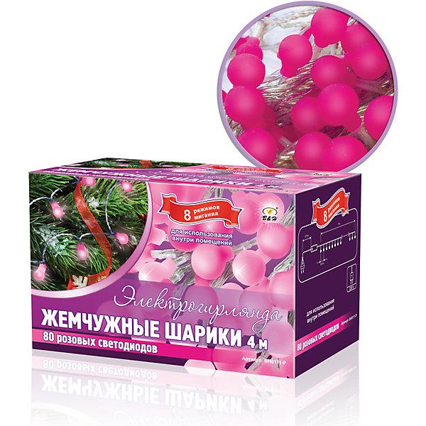 Новогодняя электрогирлянда B&amp;H Жемчужные минишарики 80 розовых светодиодов, 4 мНовогодние электрогирлянды<br>Электрогирлянда, представляет собой гибкий провод длиной 4 м., на котором расположены  яркие минишарики со светодиодами внутри (80 ярких жемчужных минишариков). Гирлянда светодиодная - яркая и долговечная, имеет маленькое энергопотребление, позволяет создавать яркое и привлекающее внимание оформление витрин, помещений, елей, деревьев и других объектов. Наличие контроллера позволяет создать 8 различных режимов работы. Не являются соединяемыми. Используются внутри и снаружи помещений. Цвет: розовый.<br><br>Ширина мм: 80<br>Глубина мм: 140<br>Высота мм: 90<br>Вес г: 142<br>Возраст от месяцев: 36<br>Возраст до месяцев: 2147483647<br>Пол: Унисекс<br>Возраст: Детский<br>SKU: 7230525