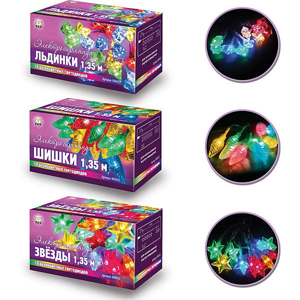 Новогодняя элактрогирлянда Нить 10 цветных светодиодов, 2 мНовогодние электрогирлянды<br>Характеристики товара:<br><br>• возраст: от 3 лет;<br>• упаковка: картонная коробка;<br>• вес: 80 гр.;<br>• тип ламп: светодиоды;<br>• количество ламп: 10 шт.;<br>• цвет свечения: разноцветный;<br>• длина электрогирлянды: 1,35 м;<br>• размер упаковки: 12x6x6 см;<br>• материал: пластик;<br>• бренд, страна бренда: B&amp;H;<br>• страна-производитель: Китай.<br><br>Электрогирлянда с насадками «Нить» представляет собой гибкий прозрачный провод длиной 1,35 м.,  на котором расположены 10 светодиодов с прокрашенными цветными насадками в ассортименте (звезды, лед, шишки). Может работать как от сети (сетевой шнур 30 см- в комплекте), так и от батареек (2АА*2 шт. не входят в комплект).<br><br>Светодиодная нить - яркая и долговечная, имеет маленькое энергопотребление, позволяет создавать яркое и привлекающее внимание оформление витрин, помещений, елей, деревьев и других объектов. Используются внутри помещений.<br><br>Электрогирлянда торговой марки B&amp;H позволит создать атмосферу праздника в вашем доме, а также подарит отличное настроение вашим друзьям и близким.<br><br>Электрогирлянду с насадками «Нить», 1,35 м., 10 разноцветных светодиодов, B&amp;H можно купить в нашем интернет-магазине.<br><br>Ширина мм: 62<br>Глубина мм: 60<br>Высота мм: 122<br>Вес г: 78<br>Возраст от месяцев: 36<br>Возраст до месяцев: 2147483647<br>Пол: Унисекс<br>Возраст: Детский<br>SKU: 7230529