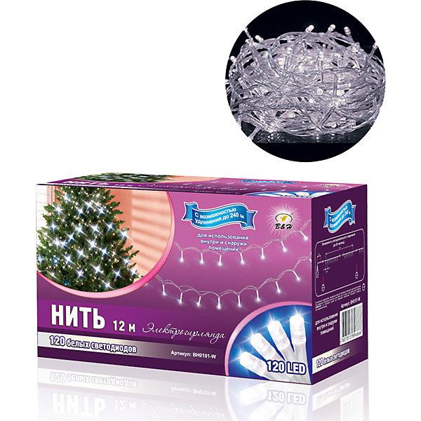 Новогодняя электрогирлянда Нить 120 белых светодиодов, 12 мНовогодние электрогирлянды<br>Характеристики товара:<br><br>• возраст: от 3 лет;<br>• упаковка: картонная коробка;<br>• вес: 305 гр.;<br>• тип ламп: светодиоды;<br>• количество ламп: 120 шт.;<br>• цвет свечения: белый;<br>• длина электрогирлянды: 12 м;<br>• размер упаковки: 10x8x17 см;<br>• материал: пластик;<br>• бренд, страна бренда: B&amp;H;<br>• страна-производитель: Китай.<br><br>Электрогирлянда «Нить» представляет собой гибкий провод длиной 12 м.,  нна котором расположены крупные яркие светодиоды целлиндрической формы.  Наличие коннекторов-переходников позволяет последовательно соединять до 20-ти гирлянд. Возможно удлинение до 240 м.<br><br>Светодиодная нить - яркая и долговечная, имеет маленькое энергопотребление, позволяет создавать яркое и привлекающее внимание оформление витрин, помещений, елей, деревьев и других объектов. Используются внутри и снаружи помещений.<br><br>Электрогирлянда торговой марки B&amp;H позволит создать атмосферу праздника в вашем доме, а также подарит отличное настроение вашим друзьям и близким.<br><br>Электрогирлянду «Нить», 12 м., 120 белых светодиодов, B&amp;H можно купить в нашем интернет-магазине.<br>Ширина мм: 170; Глубина мм: 80; Высота мм: 100; Вес г: 305; Возраст от месяцев: 36; Возраст до месяцев: 2147483647; Пол: Унисекс; Возраст: Детский; SKU: 7230531;