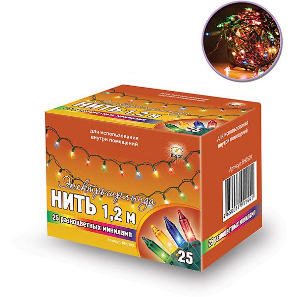 Новогодняя электрогирлянда B&amp;H Нить 25 цветных светодиодов, 12,5 мНовогодние электрогирлянды<br>Характеристики товара:<br><br>• возраст: от 3 лет;<br>• упаковка: картонная коробка;<br>• вес: 50 гр.;<br>• количество ламп: 25 шт.;<br>• цвет свечения: разноцветный;<br>• длина электрогирлянды: 1,2 м.;<br>• размер упаковки: 7x5,5x5,5 см;<br>• материал: пластик;<br>• бренд, страна бренда: B&amp;H;<br>• страна-производитель: Китай.<br><br>Электрогирлянда «Нить» представляет собой гибкий зеленый провод длиной 1,2 м, на котором расположено 25 разноцветных минилампочек с постоянным миганием. Не является соединяемой. <br><br>Электрогирлянда торговой марки B&amp;H позволит создать атмосферу праздника в вашем доме, а также подарит отличное настроение вашим друзьям и близким. Используются внутри помещений.<br><br>Электрогирлянду «Нить», 1,2 м., 25 разноцветных светодиодов, B&amp;H можно купить в нашем интернет-магазине.<br><br>Ширина мм: 55<br>Глубина мм: 55<br>Высота мм: 70<br>Вес г: 50<br>Возраст от месяцев: 36<br>Возраст до месяцев: 2147483647<br>Пол: Унисекс<br>Возраст: Детский<br>SKU: 7230533