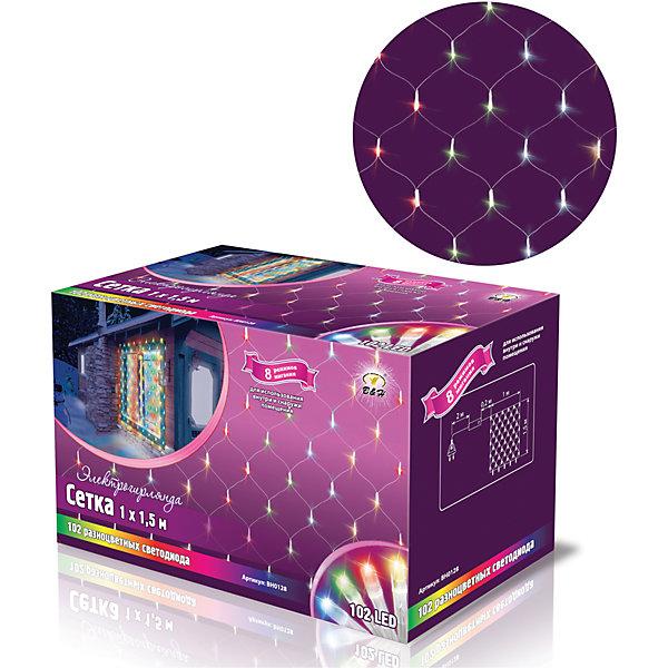 Новогодняя электрогирлянда B&amp;H Сетка 102 цветных светодиода, 1,5 мНовогодние электрогирлянды<br>Эта электрогирлянда представляет собой гибкий провод в форме сетки, на котором расположены 102 разноцветных светодиода цилиндрической формы. Наличие контроллера позволяет создавать 8 различных режимов работы. Не является соединяемой. Используется внутри и снаружи помещений. Размер гирлянды - 1*1,5 м.<br><br>Ширина мм: 82<br>Глубина мм: 100<br>Высота мм: 160<br>Вес г: 300<br>Возраст от месяцев: 36<br>Возраст до месяцев: 2147483647<br>Пол: Унисекс<br>Возраст: Детский<br>SKU: 7230534