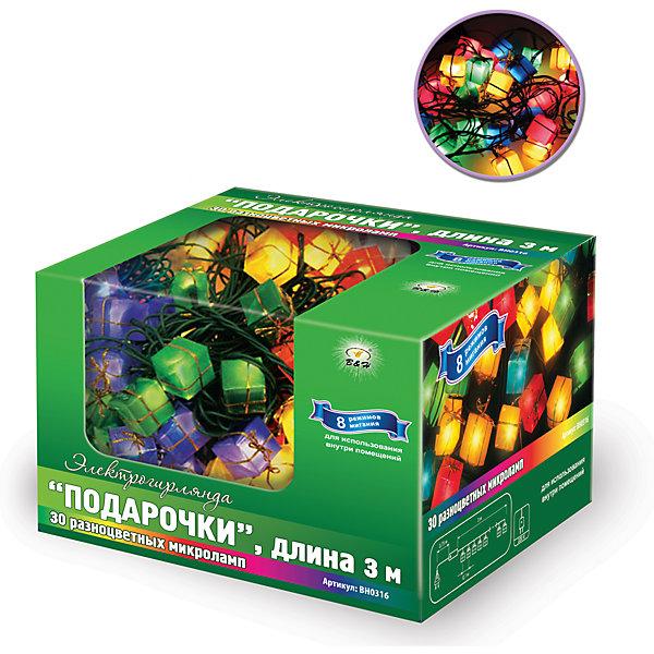 Новогодняя электрогирлянда B&amp;H Подарочки, 30 цветных микролампочек, 3 мНовогодние электрогирлянды<br>Электрогирлянда Нить с декоративными разноцветными насадками Подарки, 30 микроламп, длина: 3м, длина сетевого шнура: 0,75 м,8 режимов мигания, цвет шнура зеленый, размер насадки:2х2х2см, цвет свечения: мульти,  для использования внутри помещений<br><br>Ширина мм: 90<br>Глубина мм: 70<br>Высота мм: 140<br>Вес г: 128<br>Возраст от месяцев: 36<br>Возраст до месяцев: 2147483647<br>Пол: Унисекс<br>Возраст: Детский<br>SKU: 7230535