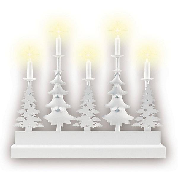 Светодиодная фигурка B&amp;H Елки, 5 LEDНовогодние световые фигуры<br>Характеристики товара:<br><br>• возраст: от 3 лет;<br>• упаковка: картонная коробка;<br>• размер упаковки: 34х29х6,5;<br>• вес: 1 кг.;<br>• тип лампочек: светодиоды;<br>• количество лампочек: 5;<br>• цвет свечения: теплый белый;<br>• состав: пластик, металл;<br>• бренд, страна изготовления: B&amp;H, Китай.<br><br>Светодиодное металлическое украшение «Елки» от торговой марки B&amp;H - оригинальное украшение с 5 елками со светодиодами теплого белого цвета на металлической подставке. Белый свет горки станет отличным украшением на окне или на любой другой поверхности вашего дома. <br><br>Украшение изготовлено с применением металла и пластика высокого качества. Блок питания снабжен таймером, который автоматически выключает питание через 6 часов и включается снова через 18 часов. Питание от батареек 3хАА (не входят в комплект поставки). Применяется для украшения помещений, окон, витрин и других объектов, используется внутри помещений. <br><br>Светодиодное украшение «Елки» подарит уют и новогоднюю атмосферу вашему дому и станет прекрасным элементом декора. Отлично подойдет в качестве хорошего сувенира для друзей и близких.<br><br>Светодиодное украшение «Горка», 5 светодиодов, B&amp;H  можно купить в нашем интернет-магазине.<br>Ширина мм: 65; Глубина мм: 290; Высота мм: 345; Вес г: 975; Возраст от месяцев: 36; Возраст до месяцев: 2147483647; Пол: Унисекс; Возраст: Детский; SKU: 7230536;