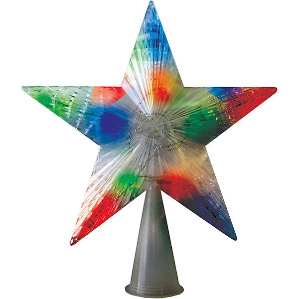 Верхушка на елку B&amp;H Звезда со светодиодами 10 LEDЁлочные игрушки<br>Характеристики товара:<br><br>• возраст: от 3 лет;<br>• упаковка: картонная коробка;<br>• вес: 90 гр.;<br>• тип ламп: светодиоды;<br>• количество ламп: 10 шт.;<br>• цвет свечения: мульти;<br>• диаметр звезды: 16 см.;<br>• длина сетевого шнура: 1,5 м;<br>• размер упаковки: 17x3,8x19 см;<br>• материал: пластик;<br>• бренд, страна бренда: B&amp;H;<br>• страна-производитель: Китай.<br><br>Верхушка на елку «Звезда» применяется для украшения новогодних елок.  Двухцветные светодиоды, в количестве 10 штук, придают звезде особую красочность и нарядность. Зеленый цвет сетевого шнура незаметен на елке. Цвет свечения диодов: синий/красный - 5 шт, красный/зеленый - 5 шт.<br><br>Светодиодное украшение - яркое и долговечное, имеет маленькое энергопотребление. Используются внутри помещений. <br><br>Украшение на елку от торговой марки B&amp;H позволит создать атмосферу праздника в вашем доме, а также подарит отличное настроение вашим друзьям и близким.<br><br>Верхушка на елку «Звезда», 10 разноцв. светодиодов, B&amp;H можно купить в нашем интернет-магазине.<br>Ширина мм: 170; Глубина мм: 38; Высота мм: 190; Вес г: 90; Возраст от месяцев: 36; Возраст до месяцев: 2147483647; Пол: Унисекс; Возраст: Детский; SKU: 7230537;