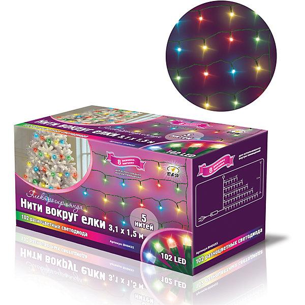 Новогодняя электрогирлянда Нити 102 цветных светодиода, 5 нитейНовогодние электрогирлянды<br>Характеристики товара:<br><br>• возраст: от 3 лет;<br>• упаковка: картонная коробка;<br>• вес: 300 гр.;<br>• тип ламп: светодиоды;<br>• количество ламп: 102 шт.;<br>• цвет свечения: разноцветный;<br>• размер электрогирлянды: 3,1х1,5 м.;<br>• размер упаковки: 15x7x8,6 см;<br>• материал: пластик;<br>• бренд, страна бренда: B&amp;H;<br>• страна-производитель: Китай.<br><br>Электрогирлянда «Нити вокруг елки» представляет собой основной гибкий провод зеленого цвета, на котором расположено 5 нитей разной длины с разноцветными светодиодами. Нити обматываются вокруг елки на разных ее уровнях и фиксируются с помощб. специальных крючков на основном проводе.  Наличие контроллера позволяет создавать 8 различных режимов работы. Не является соединяемой. <br><br>Светодиодная нить - яркая и долговечная, имеет маленькое энергопотребление, позволяет создавать яркое и привлекающее внимание оформление витрин, помещений, елей, деревьев и других объектов. Используется внутри и снаружи помещений.<br><br>Электрогирлянда торговой марки B&amp;H позволит создать атмосферу праздника в вашем доме, а также подарит отличное настроение вашим друзьям и близким.<br><br>Электрогирлянду «Нити вокруг елки», 3,1х1,5 м., 102 разноцветных светодиода, B&amp;H можно купить в нашем интернет-магазине.<br><br>Ширина мм: 67<br>Глубина мм: 148<br>Высота мм: 86<br>Вес г: 280<br>Возраст от месяцев: 36<br>Возраст до месяцев: 2147483647<br>Пол: Унисекс<br>Возраст: Детский<br>SKU: 7230538
