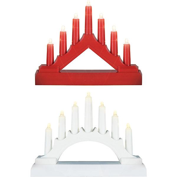 Декоративная фигурка-горка Свечи, 7 LEDНовогодние световые фигуры<br>Светодиодная горка применяется для украшения помещений, окон, витрин и других объектов, для использования внутри помещений.  Питание от батареек 2хАА (не входят в комплект поставки). Количество LED: 7 шт. Размер горки: 17*13*3,8 см. Цвет горки: красный, цвет диодов: теплый белый. Цвет горки: белый, цвет свечения: холодный белый.<br><br>Ширина мм: 135<br>Глубина мм: 44<br>Высота мм: 178<br>Вес г: 142<br>Возраст от месяцев: 36<br>Возраст до месяцев: 2147483647<br>Пол: Унисекс<br>Возраст: Детский<br>SKU: 7230540