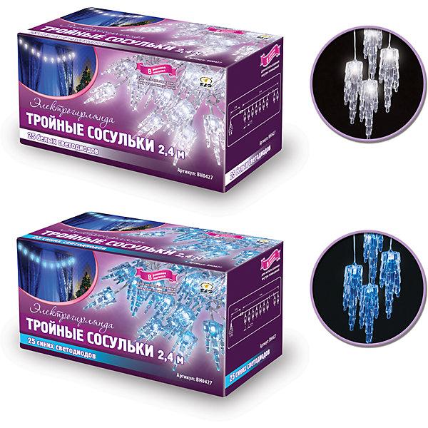 Новогодняя электрогирлянда с насадками B&amp;H Тройные сосульки 25 светодидов, 2,4 мНовогодние электрогирлянды<br>Характеристики товара:<br><br>• возраст: от 3 лет;<br>• упаковка: картонная коробка;<br>• вес: 380 гр.;<br>• тип ламп: светодиоды;<br>• количество ламп: 25 шт.;<br>• цвет свечения: хлолодный белый/синий на выбор;<br>• длина электрогирлянды: 2,4 м.;<br>• длина провода, цвет: 1,5 м., прозрачный;<br>• размер упаковки: 15x90x70 см;<br>• материал: пластик;<br>• бренд, страна бренда: B&amp;H;<br>• страна-производитель: Китай.<br><br>Электрогирлянда с насадками «Тройные сосульки» представляет собой гибкий провод длиной 2,4 м, на котором расположены декоративные насадки в форме сосулек со светодиодами внутри (25 ярких синих или белых сосулек на выбор, при заказе товара). Не являются соединяемыми. Используются внутри помещений.<br><br>Гирлянда светодиодная - яркая и долговечная, имеет маленькое энергопотребление, позволяет создавать яркое и привлекающее внимание оформление витрин, помещений, елей, деревьев и других объектов. <br><br>Электрогирлянда торговой марки B&amp;H позволит создать атмосферу праздника в вашем доме, а также подарит отличное настроение вашим друзьям и близким.<br><br>Электрогирлянду с насадками «Тройные сосульки», 2,4 м., 25 светодиодов, B&amp;H можно купить в нашем интернет-магазине.<br>Ширина мм: 80; Глубина мм: 80; Высота мм: 140; Вес г: 185; Возраст от месяцев: 36; Возраст до месяцев: 2147483647; Пол: Унисекс; Возраст: Детский; SKU: 7230542;