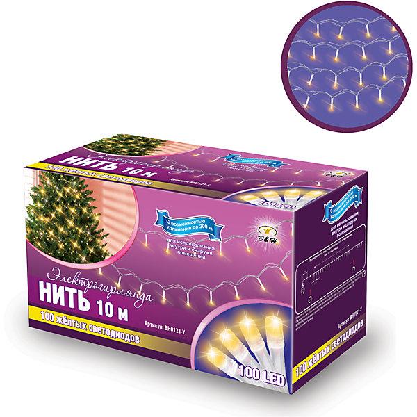 Новогодняя электрогирлянда B&amp;H Нить 100 желтых светодиодов, 10 мНовогодние электрогирлянды<br>Характеристики товара:<br><br>• возраст: от 3 лет;<br>• упаковка: картонная коробка;<br>• вес: 305 гр.;<br>• тип ламп: светодиоды;<br>• количество ламп: 100 шт.;<br>• цвет свечения: желтый;<br>• длина электрогирлянды: 10 м;<br>• размер упаковки: 15x9x7 см;<br>• материал: пластик;<br>• бренд, страна бренда: B&amp;H;<br>• страна-производитель: Китай.<br><br>Электрогирлянда «Нить» представляет собой гибкий провод прозрачного цвета длиной 12 м.,  на котором расположены крупные яркие светодиоды целлиндрической формы.  Наличие коннекторов-переходников позволяет последовательно соединять до 20-ти гирлянд. <br><br>Светодиодная нить - яркая и долговечная, имеет маленькое энергопотребление, позволяет создавать яркое и привлекающее внимание оформление витрин, помещений, елей, деревьев и других объектов. Используются внутри и снаружи помещений.<br><br>Электрогирлянда торговой марки B&amp;H позволит создать атмосферу праздника в вашем доме, а также подарит отличное настроение вашим друзьям и близким.<br><br>Электрогирлянду «Нить», 10 м., 100 желтых светодиодов, B&amp;H можно купить в нашем интернет-магазине.<br>Ширина мм: 90; Глубина мм: 70; Высота мм: 150; Вес г: 233; Возраст от месяцев: 36; Возраст до месяцев: 2147483647; Пол: Унисекс; Возраст: Детский; SKU: 7230543;