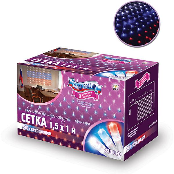 Новогодняя электрогирлянда B&amp;H Сетка. Флаг России 240 светодиодовНовогодние электрогирлянды<br>Характеристики товара:<br><br>• возраст: от 3 лет;<br>• упаковка: картонная коробка;<br>• вес: 410 гр.;<br>• тип ламп: светодиоды;<br>• количество ламп: 240 шт.;<br>• цвет: красный, синий, белый;<br>• размер электрогирлянды: 1х1,5 м.;<br>• длина шнура: 1,5 м.;<br>• размер упаковки: 90x16x11 см;<br>• материал: пластик;<br>• бренд, страна бренда: B&amp;H;<br>• страна-производитель: Китай.<br><br>Электрогирлянда «Сетка» представляет собой гибкий прозрачный провод в форме сетки,  на котором расположены 240 светодиода красного, синего и белого цвета цилиндрической формы. Наличие контроллера позволяет создавать 8 различных режимов работы. Не является соединяемой. <br><br>Светодиодная нить - яркая и долговечная, имеет маленькое энергопотребление, позволяет создавать яркое и привлекающее внимание оформление витрин, помещений, елей, деревьев и других объектов. Используется внутри и снаружи помещений.<br><br>Электрогирлянда торговой марки B&amp;H позволит создать атмосферу праздника в вашем доме, а также подарит отличное настроение вашим друзьям и близким.<br><br>Электрогирлянду «Сетка Флаг России», 1,5х1 м., 240 разноцветных светодиода, B&amp;H можно купить в нашем интернет-магазине.<br>Ширина мм: 110; Глубина мм: 900; Высота мм: 160; Вес г: 411; Возраст от месяцев: 36; Возраст до месяцев: 2147483647; Пол: Унисекс; Возраст: Детский; SKU: 7230545;