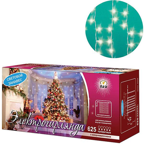 Новогодняя электрогирлянда B&amp;H Световой занавес 625 прозрачных микролампочекНовогодние электрогирлянды<br>Характеристики товара:<br><br>• возраст: от 3 лет;<br>• упаковка: картонная коробка;<br>• вес: 1,2 кг.;<br>• количество ламп: 625 шт.;<br>• цвет свечения: в ассортименте;<br>• размер электрогирлянды: 2,5х1 м.;<br>• длина сетевого шнура: 1,5 м.;<br>• размер упаковки: 30x12x13 см;<br>• материал: пластик;<br>• бренд, страна бренда: B&amp;H;<br>• страна-производитель: Китай.<br><br>Электрогирлянда «Световой занавес» представляет собой основной гибкий провод белого цвета, на котором расположены 625 прозрачных минилампочек. Занавес фиксируется с помощью специальных крючков на основном проводе.  Имеет возможность подключения дополнительных секций (до 4-х шт.), что позволяет легко расширять световой занавес до 10 м.<br><br>Электрогирлянда «Световой занавес» позволяет создавать яркое и привлекающее внимание оформление витрин, помещений, елей, деревьев и других объектов. Используется внутри и снаружи помещений.<br><br>Поставляется под одним артикулом с разными цветами свечения микролампочек на выбор: зеленый, синий, белый, красный, желтый. Уточняйте при заказе товара.<br><br>Электрогирлянда торговой марки B&amp;H позволит создать атмосферу праздника в вашем доме, а также подарит отличное настроение вашим друзьям и близким.<br><br>Электрогирлянду «Световой занавес», 2,5х1,5 м., 625 прозрачных минилампочек, B&amp;H можно купить в нашем интернет-магазине.<br>Ширина мм: 300; Глубина мм: 130; Высота мм: 120; Вес г: 1211; Возраст от месяцев: 36; Возраст до месяцев: 2147483647; Пол: Унисекс; Возраст: Детский; SKU: 7230550;