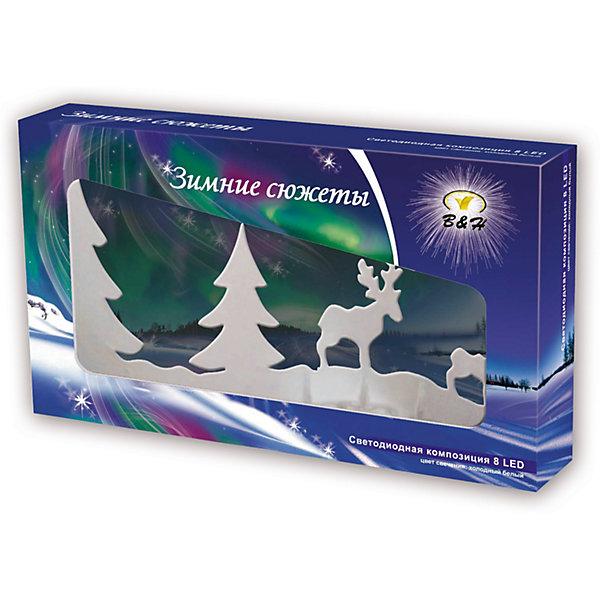 Светодиодная фигурка B&amp;H Зимние сюжеты, 8 LEDНовогодние световые фигуры<br>Характеристики товара:<br><br>• возраст: от 3 лет;<br>• упаковка: картонная коробка;<br>• размер упаковки: 25,5х14х4;<br>• вес: 150 гр.;<br>• тип лампочек: светодиоды;<br>• количество лампочек: 8;<br>• цвет свечения: белый;<br>• состав: пластик, акрил;<br>• бренд, страна изготовления: B&amp;H, Китай.<br><br>Светодиодная  акриловая композиция «Зимние сюжеты» от торговой марки B&amp;H - оригинальное украшение с новогодним дизайном и светодиодами теплого белого цвета на металлической подставке. Белый свет композиции станет отличным украшением на окне или на любой другой поверхности вашего дома. <br><br>Украшение изготовлено с применением акрила высокого качества. Питание от батареек 2хАА (не входят в комплект поставки). Применяется для украшения помещений, окон, витрин и других объектов, используется внутри помещений. <br><br>Светодиодная  акриловая композиция «Зимние сюжеты» подарит уют и новогоднюю атмосферу вашему дому и станет прекрасным элементом декора. Отлично подойдет в качестве хорошего сувенира для друзей и близких.<br><br>Светодиодную  акриловую композицию «Зимние сюжеты», 8 светодиодов, B&amp;H  можно купить в нашем интернет-магазине.<br><br>Ширина мм: 255<br>Глубина мм: 145<br>Высота мм: 40<br>Вес г: 151<br>Возраст от месяцев: 36<br>Возраст до месяцев: 2147483647<br>Пол: Унисекс<br>Возраст: Детский<br>SKU: 7230551