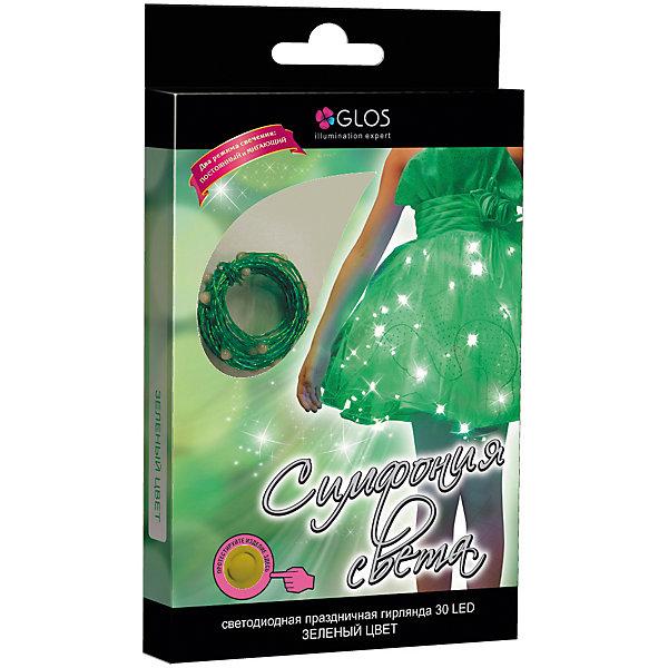 Новогодняя электрогирлянда GLOS Симфония света 30 фиолетовых нанодиодов, зеленый/синий/розовыйКарнавальные костюмы для девочек<br>Характеристики товара:<br><br>• возраст: от 3 лет;<br>• упаковка: картонная коробка;<br>• вес: 100 гр.;<br>• тип ламп: нанодиоды;<br>• количество ламп: 30 шт.;<br>• цвет свечения: зеленый;<br>• длина украшения: 3 м.;<br>• блок питания: тип ААх3 шт., не входят в комплект;<br>• размер упаковки: 13x21x2,7 см;<br>• материал: пластик;<br>• бренд, страна бренда: GLOS;<br>• страна-производитель: Китай.<br><br>Электрогирлянда «Симфония света» отличное решение для украшения причесок, бокалов, ваз, букетов к празднику, а так же отдельных элементов одежды. Стильный и необычный декор добавит ярких красок в Ваш праздник. <br><br>Электрогирлянда «Симфония света» снабжена 30 НАНО LED зеленого цвета с клипсой и блоком питания от батарейки (тип ААх3 шт., не входят в комплект). Два режима свечения: постоянный и мигающий. Для использования внутри помещения.<br><br>Электрогирлянда торговой марки GLOS позволит создать атмосферу праздника в вашем доме, а также подарит отличное настроение вашим друзьям и близким.<br><br>Электрогирлянду «Симфония света», 3 м., 30 зеленых нанодиодов, GLOS можно купить в нашем интернет-магазине.<br>Ширина мм: 132; Глубина мм: 215; Высота мм: 26; Вес г: 102; Возраст от месяцев: 36; Возраст до месяцев: 2147483647; Пол: Унисекс; Возраст: Детский; SKU: 7230566;