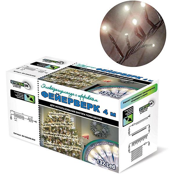 Новогодняя электрогирлянда B&amp;H Фейерверк 132 белых светодиода, 4 мНовогодние электрогирлянды<br>Характеристики товара:<br><br>• возраст: от 3 лет;<br>• упаковка: картонная коробка;<br>• вес: 300 гр..;<br>• тип ламп: светодиоды.;<br>• количество ламп: 132 шт.;<br>• цвет свечения: теплый белый;<br>• длина электрогирлянды: 4 м.;<br>• длина сетевого шнура: 1,5 м.;<br>• размер упаковки: 10x8x16 см;<br>• материал: пластик;<br>• бренд, страна бренда: B&amp;H;<br>• страна-производитель: Китай.<br><br>Электрогирлянда с эффектом «Фейерверк. SYSTEM IN» представляет собой основной гибкий прозрачный провод, на котором расположены 132 белых теплых светодиода. Снабжены функцией SYSTEM IN. Для использования внутри и снаружи помещений.<br><br>Светодиодные гирлянды SYSTEM IN предназначены для декоративного внутреннего освещения. Все гирлянды SYSTEM IN последовательно подключаются между собой с помощью специальных коннекторов. Цепочка коннекторов может быть удлинена до 2000 светодиодов. <br><br>Гирлянда светодиодная, яркая и долговечная, имеет маленькое энергопотребление( в 10 раз меньше, чем у гирлянд с микролампами и минилампами).<br><br>Электрогирлянда торговой марки B&amp;H позволит создать атмосферу праздника в вашем доме, а также подарит отличное настроение вашим друзьям и близким.<br><br>Электрогирлянду с эффектом «Фейерверк. SYSTEM IN», 4 м., 132 белых теплыхсветодиодов, B&amp;H можно купить в нашем интернет-магазине.<br><br>Ширина мм: 100<br>Глубина мм: 80<br>Высота мм: 160<br>Вес г: 300<br>Возраст от месяцев: 36<br>Возраст до месяцев: 2147483647<br>Пол: Унисекс<br>Возраст: Детский<br>SKU: 7230568