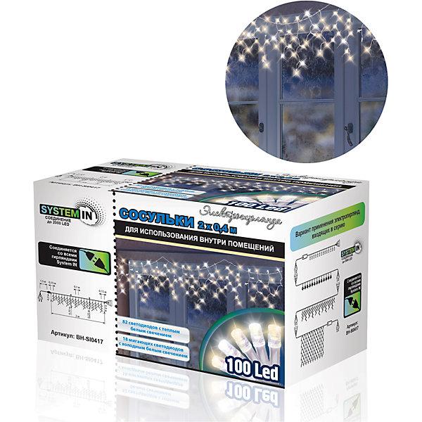 Новогодняя электрогирлянда B&amp;H Сосульки 100 белыйх светодиодаНовогодние электрогирлянды<br>Характеристики товара:<br><br>• возраст: от 3 лет;<br>• упаковка: картонная коробка;<br>• вес: 220 гр..;<br>• тип ламп: светодиоды.;<br>• количество ламп: 100 шт.;<br>• цвет свечения: теплый белый/мигающий белый;<br>• размеры электрогирлянды: 2х0,4 м.;<br>• длина сетевого шнура: 1,5 м.;<br>• размер упаковки: 14x8x9 см;<br>• материал: пластик;<br>• бренд, страна бренда: B&amp;H;<br>• страна-производитель: Китай.<br><br>Электрогирлянда «Сосульки. SYSTEM IN» представляет собой гибкий провод длиной 2 метра, на котором расположены нити разной длины (40,35,30 и 25 см) с прозрачными светодиодами. Снабжена функцией SYSTEM IN. Для использования внутри и снаружи помещений.<br><br>Светодиодные гирлянды SYSTEM IN предназначены для декоративного внутреннего освещения. Все гирлянды SYSTEM IN последовательно подключаются между собой с помощью специальных коннекторов. Цепочка коннекторов может быть удлинена до 2000 светодиодов. <br><br>Режим работы: постоянное горение (82 LED-теплый белый) и мигание (18 LED-холодный белый). <br><br>Гирлянда светодиодная, яркая и долговечная, имеет маленькое энергопотребление( в 10 раз меньше, чем у гирлянд с микролампами и минилампами).<br><br>Электрогирлянда торговой марки B&amp;H позволит создать атмосферу праздника в вашем доме, а также подарит отличное настроение вашим друзьям и близким.<br><br>Электрогирлянду с эффектом «Фейерверк. SYSTEM IN», 4 м., 132 белых теплыхсветодиодов, B&amp;H можно купить в нашем интернет-магазине.<br><br>Ширина мм: 140<br>Глубина мм: 90<br>Высота мм: 80<br>Вес г: 223<br>Возраст от месяцев: 36<br>Возраст до месяцев: 2147483647<br>Пол: Унисекс<br>Возраст: Детский<br>SKU: 7230569