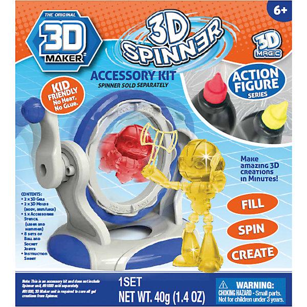 Набор формочек 3D Magic 3D Maker, ЧеловечкиПластик для 3D ручек<br>2 шт - 3D гелей (желтый, красный), 2 шт- 3D формочка для вертушки (тело, голова, ручки, ножки), 1 шт- лист с 3D формочками лазерного ружья и молотка, 8 шт - набор (32 шт) «суставных связок» (шарики, пазы). 1 шт- инструкция. Для использования с артикулом 81000 (продаётся отдельно).<br>Ширина мм: 60; Глубина мм: 180; Высота мм: 230; Вес г: 1710; Возраст от месяцев: 72; Возраст до месяцев: 2147483647; Пол: Унисекс; Возраст: Детский; SKU: 7231337;