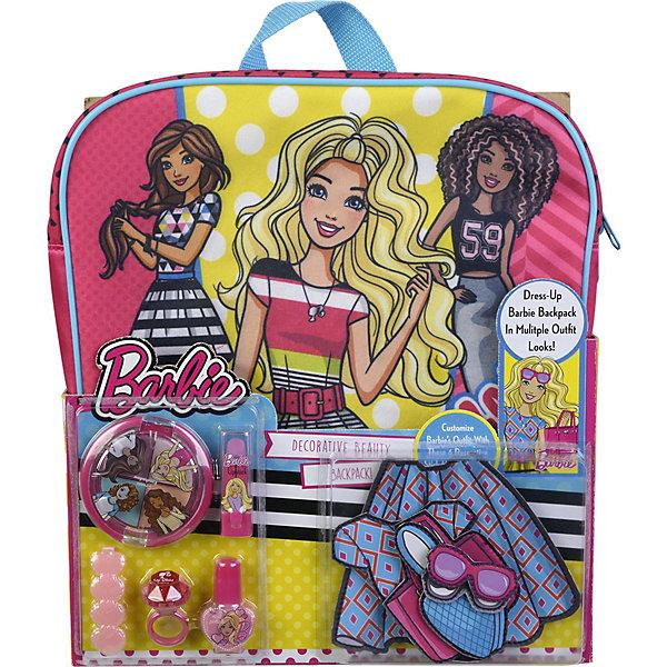 Игровой набор Markwins Barbie Декоративная косметика с рюкзакомНаборы детской косметики<br>Состав набора: рюкзак 1 шт., палитра теней для век из 4 оттенков, губная помада в футляре 1 шт., лак для ногтей на водной основе 1 шт., блеск для губ в колечке 1 шт., заколочка для волос 1 шт., липучки 6 шт.<br>Ширина мм: 106; Глубина мм: 270; Высота мм: 315; Вес г: 495; Возраст от месяцев: 36; Возраст до месяцев: 2147483647; Пол: Женский; Возраст: Детский; SKU: 7231347;