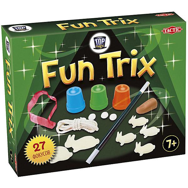 Набор фокусов Tactic Games Fun TrixФокусы и розыгрыши<br>Характеристики товара:<br><br>• возраст: от 7 лет;<br>• материал: картон, бумага;<br>• в комплекте: 3 пластиковых стаканчика, 1 пластиковый палец, 2 больших поролоновых кролика, 4 маленьких поролоновых кролика, 4 волшебных помпона, 1 веревка, 1 лента,1 волшебная палочка ;<br>• размер упаковки: 55х26,8х21,8 см;<br>• упаковка: картонная коробка;<br>• количество предполагаемых игроков: 2-6;<br>• вес упаковки: 300 гр.;<br>• страна производитель: Россия.<br><br>Если вы задумались, как весело и с пользой провести время со своими детьми дома или во время дальней поездки.<br><br>Набор фокусов Fun Trix станет отличным подарком для юного иллюзиониста. С помощью аксессуаров из этого комплекта ребенок сможет показать 26 фокусов перед своей семьей или друзьями. Этот замечательный набор подарит ему прекрасную возможность окунуться в чарующий мир фокусов и волшебства. <br><br>Настольную игру набор фокусов «Fun Trix» можно приобрести в нашем интернет-магазине.<br><br>Ширина мм: 55<br>Глубина мм: 268<br>Высота мм: 218<br>Вес г: 253<br>Возраст от месяцев: 84<br>Возраст до месяцев: 180<br>Пол: Унисекс<br>Возраст: Детский<br>SKU: 7232891