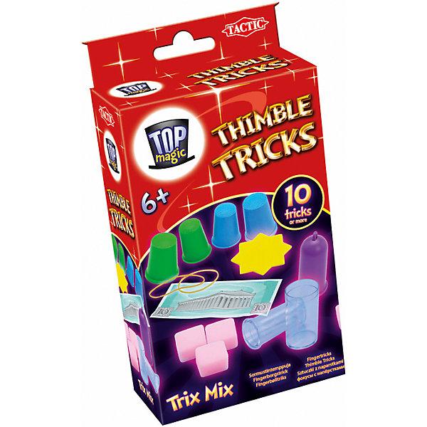 Фокусы Tactic Games Фокусы с наперсткамиФокусы и розыгрыши<br>Характеристики товара:<br><br>• возраст: от 6 лет;<br>• материал: картон, бумага;<br>• в комплекте: 4 наперстка, 3 кубика, игрушечные бумажные деньги, 2 резинки, колбочки;<br>• размер упаковки: 5х18х11 см;<br>• упаковка: картонная коробка;<br>• вес упаковки: 300 гр.;<br>• страна производитель: Россия.<br><br>Если вы задумались, как весело и с пользой провести время Новый игровой набор «Фокусы с наперстками» станет отличным подарком для любого ребенка, мечтающего стать фокусником или иллюзионистом. В комплект включено все необходимое для того, чтобы показать 10 различных фокусов.  <br><br>Настольную игру «Фокусы с наперстками» можно приобрести в нашем интернет-магазине.<br>Ширина мм: 50; Глубина мм: 180; Высота мм: 110; Вес г: 300; Возраст от месяцев: 72; Возраст до месяцев: 180; Пол: Унисекс; Возраст: Детский; SKU: 7232892;