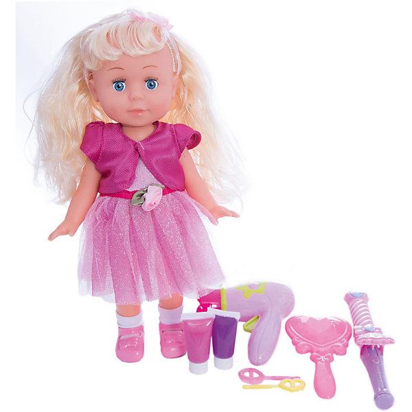 Кукла  30см, озвученная, руссифицированная, закрывывает глазки, с аксессуарами.Куклы<br>Характеристики товара:<br><br>• в комплекте: кукла, аксессуары;<br>• высота куклы: 30 см;<br>• возраст: от 3 лет;<br>• батарейки: LR44 - 3 шт. (входят в комплект);<br>• материал: пластик, текстиль, металл;<br>• размер упаковки: 9х23х31 см;<br>• страна бренда: Россия.<br><br>Кукла Полина сможет развлечь и развеселить девочку, ведь она очень милая и забавная. Куколка умеет петь и говорить. Полина расскажет девочке стихи «Пошла гулять», «Я люблю свою подружку», «Вместе с солнышком встаю», «Пришла ко мне подружка», а также споет песенки «С голубого ручейка», «Облака», «Что мне снег, что мне зной», «Если долго-долго-долго».<br><br>Кукла имеет очень милое личико и красивые длинные волосы. Полина одета в яркое воздушное платье. В комплект входят различные аксессуары для создания причесок: расческа, заколочки, фен, 2 вида краски для волос. Если девочка уложит куклу спать, то Полина очень реалистично закроет глазки.<br><br>Куклу  30см, озвученную,  русифицированную, закрывает глазки, с аксессуарами, Карапуз можно купить в нашем интернет-магазине.<br>Ширина мм: 150; Глубина мм: 50; Высота мм: 200; Вес г: 630; Возраст от месяцев: 36; Возраст до месяцев: 84; Пол: Унисекс; Возраст: Детский; SKU: 7233169;
