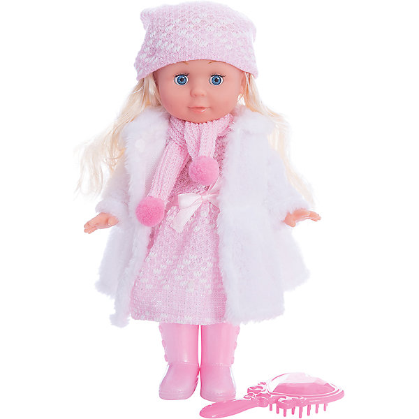 Кукла  30 см, озвученная,руссифицированная, закрывывает глазки, с набором одежды.Куклы<br>Характеристики товара:<br><br>• в комплекте: кукла, аксессуары;<br>• высота куклы: 30 см;<br>• возраст: от 3 лет;<br>• батарейки: LR44 - 3 шт. (входят в комплект);<br>• материал: пластик, текстиль, металл;<br>• размер упаковки: 32х27х9 см;<br>• страна бренда: Россия.<br><br>Кукла Полина - невероятно милая и красивая малышка. Она имеет роскошные светлые волосы и выразительные глазки. Кукла одета в вязаное платье розового цвета, вязаную шапочку и сапожки в тон. В комплект входят расческа и белая шубка, которая согреет Полину во время зимней прогулки.<br><br>Если девочка уложит куколку спать, Полина очень реалистично закроет свои глазки. Кукла умеет говорить и петь: в ее репертуар входят несколько стихов и песен Агнии Барто. Руки и ноги куклы подвижны. Девочка сможет придать Полине нужную позу, уложить волосы и послушать стихи и песенки.<br><br>Куклу  30см, озвученную,  русифицированную, закрывает глазки, с набором одежды, Карапуз можно купить в нашем интернет-магазине.<br>Ширина мм: 150; Глубина мм: 80; Высота мм: 300; Вес г: 540; Возраст от месяцев: 36; Возраст до месяцев: 84; Пол: Унисекс; Возраст: Детский; SKU: 7233170;