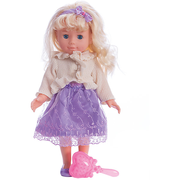 Кукла 40 см, озвученная, руссифицированная, закрываются глазки.Куклы<br>Характеристики товара:<br><br>• высота куклы: 40 см;<br>• возраст: от 3 лет;<br>• материал: пластик, текстиль;<br>• батарейки в комплекте;<br>• размер упаковки: 12х42х12 см;<br>• страна бренда: Россия.<br><br>Очаровательная говорящая кукла станет прекрасным подарком для любой девочки. Кукла имеет подвижные ручки, ножки и голову, благодаря чему девочка сможет подобрать ей позу, подходящую для игры. Внутри животика расположен звуковой модуль, нажимая на который девочка услышит одну из ста фраз. Кукла одета в пышную сиреневую юбку, стильную кофточку. Ее образ дополнен маленькими туфельками и повязкой в тон юбки.<br><br>Куклу 40 см, озвученную, русифицированную, закрываются глазки, Карапуз можно купить в нашем интернет-магазине.<br><br>Ширина мм: 110<br>Глубина мм: 60<br>Высота мм: 400<br>Вес г: 810<br>Возраст от месяцев: 36<br>Возраст до месяцев: 84<br>Пол: Унисекс<br>Возраст: Детский<br>SKU: 7233175