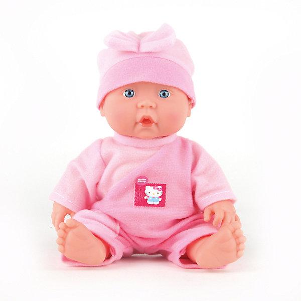 Пупс  HELLO KITTY 24 см, с твердым телом , с одеждой, озвученная.Бренды кукол<br>Характеристики товара:<br><br>• высота куклы: 24 см;<br>• возраст: от 3 лет;<br>• материал: пластик, текстиль;<br>• батарейки в комплекте;<br>• страна бренда: Россия.<br><br>Милый и забавный пупс от торговой марки Карапуз подарит девочке возможность почувствовать себя настоящей мамой, заботящейся о малыше. Для большей реалистичности ножки и ручки пупса можно двигать. При нажатии на животик пупс издает реалистичные звуки, весело смеется и лепечет, капризничает и плачет. Пупс одет в розовый комбинезон и розовую шапочку. Комбинезон пупса украшен значком Hello Kitty.<br><br>Пупса «Hello Kitty» (Хелло Китти) 24 см, с твердым телом , с одеждой, озвученную, Карапуз можно купить в нашем интернет-магазине.<br>Ширина мм: 100; Глубина мм: 50; Высота мм: 240; Вес г: 400; Возраст от месяцев: 36; Возраст до месяцев: 84; Пол: Унисекс; Возраст: Детский; SKU: 7233180;