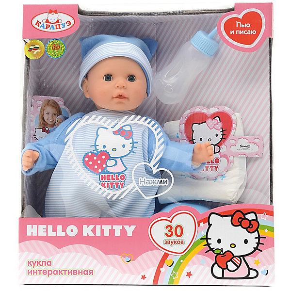 Пупс  HELLO KITTY 35 см, мягкое тело, 30 звуков, пьети писает.Куклы<br>Характеристики товара:<br><br>• в комплекте: кукла, горшок, бутылочка, подгузник;<br>• высота куклы: 35 см;<br>• возраст: от 3 лет;<br>• материал: пластик, текстиль;<br>• батарейки: LR41 - 3 шт. (в комплекте);<br>• размер упаковки: 12х26х33 см;<br>• страна бренда: Россия.<br><br>Очаровательный пупс из коллекции Hello Kitty - отличная возможность научить девочку заботиться о младших. Кукла очень похожа на настоящего малыша, его ручки, ножки и пухленькие щечки очень похожи на настоящие. если нажать на животик, пупс будет издавать забавные звуки, лепетать и смеяться. Кукла умеет пить и писать. В комплект входят бутылочка, горшок и сменный подгузник. Девочка сможет покормить малыша, усадить его на горшок и сменить подгузник. Если уложить малыша спать, то он очень реалистично закроет глазки. Пупс одет в голубой костюмчик с изображением котенка Hello Kitty и голубую шапочку.<br><br>Пупса «Hello Kitty» (Хелло Китти) 35 см, мягкое тело, 30 звуков, пьет и писает, Карапуз можно купить в нашем интернет-магазине.<br>Ширина мм: 150; Глубина мм: 60; Высота мм: 350; Вес г: 750; Возраст от месяцев: 36; Возраст до месяцев: 84; Пол: Унисекс; Возраст: Детский; SKU: 7233185;