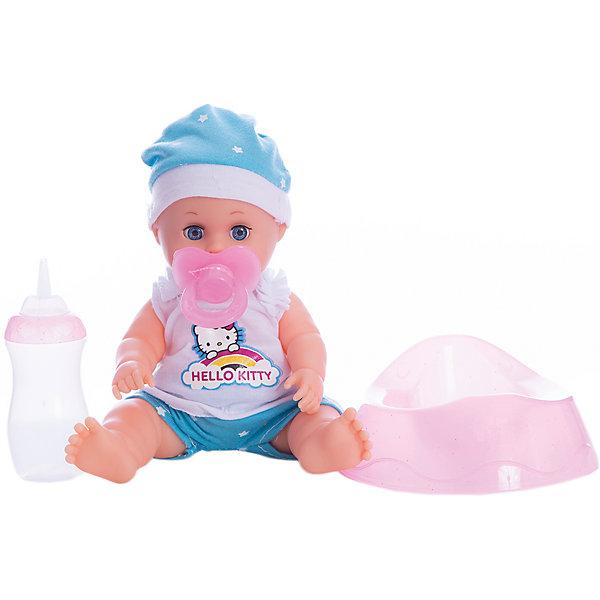 Пупс HELLO KITTY 20 см, 3 функции , пьет , писает, с аксессуарами.Hello Kitty<br>Характеристики товара:<br><br>• в комплекте: кукла, одежда, аксессуары;<br>• высота куклы: 20 см;<br>• возраст: от 3 лет;<br>• материал: пластик, текстиль;<br>• размер упаковки: 11х21х22 см;<br>• страна бренда: Россия.<br><br>Маленький пупс с выразительными глазками - прекрасный подарок для любой девочки. Заботясь о кукле, девочка научится кормить, убаюкивать малыша, ухаживать за ним и укладывать спать. Если положить пупса, он очень реалистично закрывает глазки. В комплект входит специальная бутылочка, из которой можно покормить малыша. Когда пупс покушает, девочка усадит его на горшок и пупс начнет писать, как настоящий ребенок. Кроме того, можно искупать пупса, дать ему соску, а также заполнить его свидетельство о рождении, которое входит в комплект. Пупс одет в красивый костюмчик и шапочку, выполненные в бело-голубых тонах и украшенных рисунком котенка Hello Kitty.<br><br>Пупса «Hello Kitty» (Хелло Китти) 20 см, 3 функции , пьет , писает, с аксессуарами, Карапуз можно купить в нашем интернет-магазине.<br>Ширина мм: 100; Глубина мм: 50; Высота мм: 200; Вес г: 400; Возраст от месяцев: 36; Возраст до месяцев: 84; Пол: Унисекс; Возраст: Детский; SKU: 7233188;