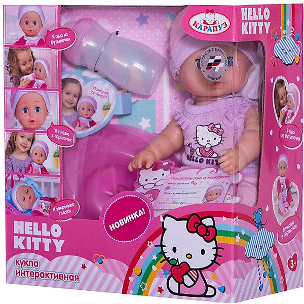 Пупс HELLO KITTY 20 см, 3 функции , пьет , писает, с аксессуарами.Бренды кукол<br>Характеристики товара:<br><br>• в комплекте: кукла, одежда, аксессуары;<br>• высота куклы: 20 см;<br>• возраст: от 3 лет;<br>• материал: пластик, текстиль;<br>• размер упаковки: 11х21х22 см;<br>• страна бренда: Россия.<br><br>Маленький пупс с выразительными глазками - прекрасный подарок для любой девочки. Заботясь о кукле, девочка научится кормить, убаюкивать малыша, ухаживать за ним и укладывать спать. Если положить пупса, он очень реалистично закрывает глазки. В комплект входит специальная бутылочка, из которой можно покормить малыша. Когда пупс покушает, девочка усадит его на горшок и пупс начнет писать, как настоящий ребенок. Кроме того, можно искупать пупса, дать ему соску, а также заполнить его свидетельство о рождении, которое входит в комплект. Пупс одет в красивый костюмчик и шапочку, выполненные в розовых тонах и украшенных рисунком котенка Hello Kitty.<br><br>Пупса «Hello Kitty» (Хелло Китти) 20 см, 3 функции , пьет , писает, с аксессуарами, Карапуз можно купить в нашем интернет-магазине.<br>Ширина мм: 100; Глубина мм: 50; Высота мм: 200; Вес г: 400; Возраст от месяцев: 36; Возраст до месяцев: 84; Пол: Унисекс; Возраст: Детский; SKU: 7233189;