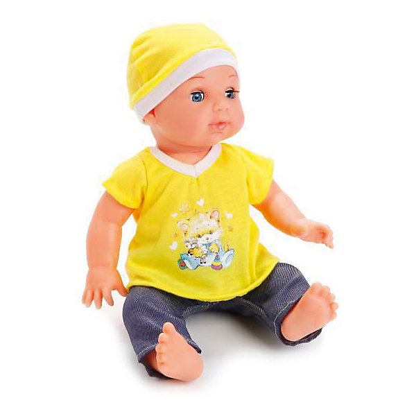 Пупс HELLO KITTY 35 см, 3 фунции, пьет, писает, закрывает глазки.Куклы<br>Характеристики товара:<br><br>• в комплекте: кукла, одежда, аксессуары;<br>• высота куклы: 35 см;<br>• возраст: от 3 лет;<br>• материал: пластик, текстиль;<br>• батарейки в комплекте;<br>• размер упаковки: 24,5х15х38,5 см;<br>• страна бренда: Россия.<br><br>Пупс Hello Kitty научит девочку заботиться и ухаживать за малышом. В комплект входят необходимые аксессуары: бутылочка, горшок, соска, подгузник. Девочка сможет покормить пупса, а затем посадить его на горшок или сменить ему подгузник. Пупс умеет пить и реалистично писать. Ножки и ручки малыша подвижны, глазки закрываются, если уложить его спать. Кроме того, девочка сможет выбрать пупсу имя и заполнить свидетельство о рождении. Пупс одет в яркую желтую футболочку, синие штанишки и шапочку в тон футболке.<br><br>Пупса «Hello Kitty» (Хелло Китти) 35 см, 3 функции, пьет, писает, закрывает глазки, Карапуз можно купить в нашем интернет-магазине.<br>Ширина мм: 120; Глубина мм: 70; Высота мм: 360; Вес г: 860; Возраст от месяцев: 36; Возраст до месяцев: 84; Пол: Унисекс; Возраст: Детский; SKU: 7233192;