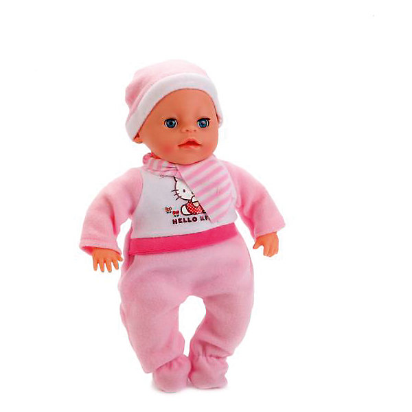Пупс HELLO KITTY 30 см, озвученный, мягкое тело.Популярные игрушки<br>Характеристики товара:<br><br>• в комплекте: кукла, одежда, аксессуары;<br>• высота куклы: 30 см;<br>• возраст: от 3 лет;<br>• материал: пластик, текстиль;<br>• батарейки: LR44 - 3 шт. (входят в комплект);<br>• размер упаковки: 20х40х30 см;<br>• страна бренда: Россия.<br> <br>Пупс Hello Kitty от торговой марки Карапуз позволит девочке почувствовать себя любящей мамой и научит заботиться о малышах. Игрушка имеет мягкое тело, озвучена. Во время игры пупс плачет, смеется, а также произносит очень реалистичные звуки. Руки и ноги куклы подвижны. Кукла дополнена соской и свидетельством о рождении, в которое девочка сможет внести данные о своем малыше. Пупс одет в теплый розовый комбинезон и розовую шапочку.<br><br>Пупса «Hello Kitty» (Хелло Китти) 30 см, озвученного, мягкое тело, Карапуз можно купить в нашем интернет-магазине.<br><br>Ширина мм: 120<br>Глубина мм: 60<br>Высота мм: 300<br>Вес г: 650<br>Возраст от месяцев: 36<br>Возраст до месяцев: 84<br>Пол: Унисекс<br>Возраст: Детский<br>SKU: 7233193