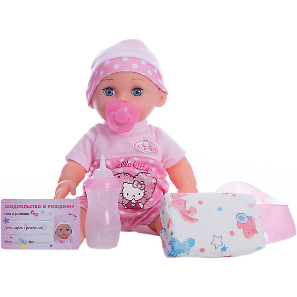 Пупс HELLO KITTY 30 см, 3 функции, пьет, писает, с аксессуарами.Hello Kitty<br>Характеристики товара:<br><br>• в комплекте: кукла, бутылочка, подгузник, соска, горшок, свидетельство;<br>• высота куклы: 30 см;<br>• возраст: от 3 лет;<br>• материал: пластик, текстиль;<br>• батарейки: LR44 - 3 шт. (входят в комплект);<br>• размер упаковки: 15х27х30 см;<br>• страна бренда: Россия.<br><br>Интерактивная игрушка от компании Карапуз порадует каждую заботливую малышку. Кукла выполнена в виде малыша с пухлыми щечками и широкими выразительными глазками. Пупс имеет три интересных функции: пьет из бутылочки, писает в горшок, закрывает глазки, если девочка решит уложить его спать. В комплект входят аксессуары: горшок, бутылочка, подгузник, свидетельство. Придумав малышу имя, девочка сможет вписать его в свидетельство о рождении. Пупс одет в розовую шапочку и розовый песочник с символикой Hello Kitty.<br><br>Пупса «Hello Kitty» (Хелло Китти) 30 см, 3 функции, пьет, писает, с аксессуарами, Карапуз можно купить в нашем интернет-магазине.<br>Ширина мм: 130; Глубина мм: 70; Высота мм: 300; Вес г: 750; Возраст от месяцев: 36; Возраст до месяцев: 84; Пол: Унисекс; Возраст: Детский; SKU: 7233195;