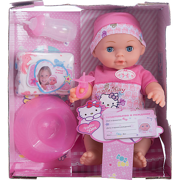 Пупс HELLO KITTY 30 см, 3 функции, пьет, писает, с аксессуарами.Куклы<br>Функциональная кукла Пупс от торгового бренда Карапуз - интерактивная игрушка, которая непременно станет прекрасным дополнением сюжетных игр девочки и позволит почувствовать себя в роли маленькой мамы. Проработана кукла очень детально и выглядит как настоящий малыш, что сделает игру еще интереснее. Размер куклы 30 см, она выполняет 3 функции - пьёт, писает и засыпает. В комплекте с пупсом идут аксессуары: бутылочка, памперс, горшок, соска и свидетельство. Рекомендовано детям старше 3-х лет.<br>Ширина мм: 130; Глубина мм: 70; Высота мм: 300; Вес г: 750; Возраст от месяцев: 36; Возраст до месяцев: 84; Пол: Унисекс; Возраст: Детский; SKU: 7233196;