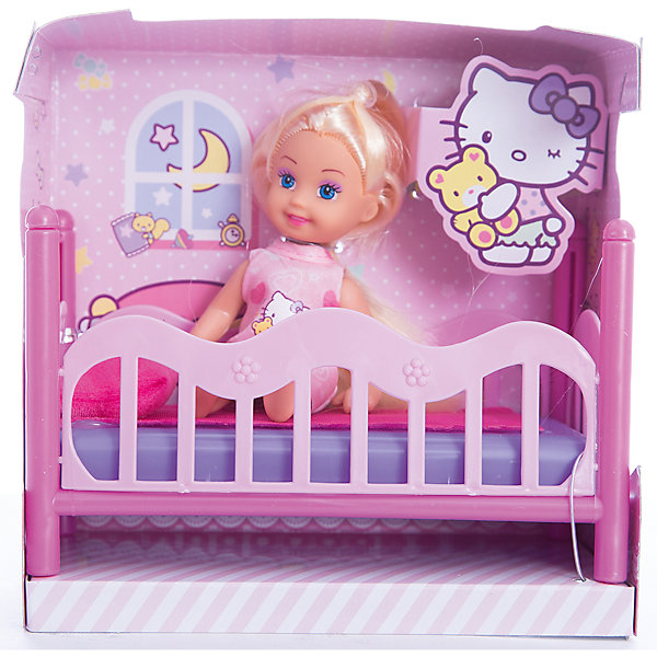 КУКЛА HELLO KITTY. Машенька 12 см, твердое тело, с кроваткой.Куклы<br>Кукла Моя подружка Машенька из серии Хелло Китти от бренда Карапуз - это милая игрушка небольшого размера в виде очаровательной малышки. Эта кукла обязательно понравится девочкам. Машенька одета в красивое розовое платье с рисунком, а на ногах у нее - миниатюрные туфельки. Глаза с настоящими ресницами смотрятся невероятно живо и выразительно. Кукла готова лечь спать в своей маленькой розовой кроватке.<br><br>Ширина мм: 60<br>Глубина мм: 30<br>Высота мм: 120<br>Вес г: 210<br>Возраст от месяцев: 36<br>Возраст до месяцев: 84<br>Пол: Унисекс<br>Возраст: Детский<br>SKU: 7233201