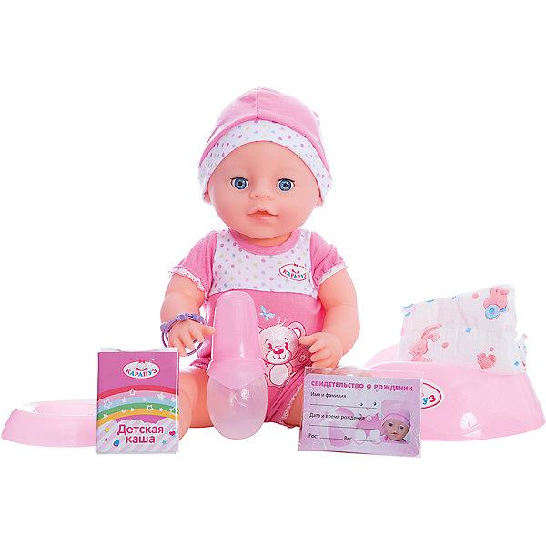 Интерактивная кукла Карапуз пьет, писает, закрывает глаза, 40 см (в бело-розовом)Куклы<br>Этот очаровательный малыш умеет пить и писать, как настоящий ребенок! Наполни водой бутылочку и напои малыша. Как только вода начнет поступать в ротик куклы, малыш сразу начнет писать, поэтому перед кормлением лучше надеть на него подгузник или посадить на горшочек! Если малыш испачкался во время еды, его можно искупать в ванне. Малыш очень любит, когда с ним играют и ухаживают за ним! Переодень малыша на прогулку, покачай на ручках и спой песенку. После кормления не забывай поменять его подгузник. Уложи малыша в кроватку и дай ему соску. Он закроет глазки и сладко уснет! В комплект входит бутылочка, подгузник, горшок, тарелка, ложка, соска, кулончик и браслет, свидетельство о рождении, пакетик с кашей для куклы.<br><br>Ширина мм: 170<br>Глубина мм: 100<br>Высота мм: 400<br>Вес г: 0<br>Возраст от месяцев: 36<br>Возраст до месяцев: 84<br>Пол: Унисекс<br>Возраст: Детский<br>SKU: 7233204