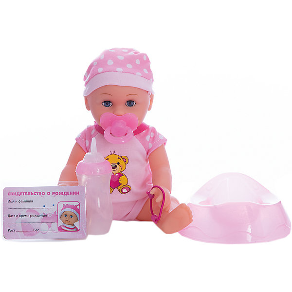 Пупс  25 см, 3 функции, пьет, писает, с аксессуарами.Куклы<br>Характеристики товара:<br><br>• в комплекте: кукла, горшок, бутылочка, соска;<br>• высота куклы: 25 см;<br>• возраст: от 3 лет;<br>• материал: пластик, текстиль;<br>• страна бренда: Россия.<br><br>Очаровательный пупс от торговой марки Карапуз никого не оставит равнодушным. Малыш выглядит настолько реалистично, что девочка легко сможет почувствовать себя настоящей мамой, а также научится заботе и ответственности. В комплект входят необходимые принадлежности для ухода за малышом: бутылочка, соска, горшок. Если напоить малыша из бутылочки, он сможет писать в свой горшочек. Горшок оснащен световыми и звуковыми эффектами, чтобы игра была еще интереснее. А когда девочка даст малышу соску и начнет его убаюкивать, карапуз закроет свои глазки и сладко заснет. Пупс одет в боди с аппликацией и розовую шапочку.<br><br>Пупса 25 см, 3 функции, пьет, писает, с аксессуарами, Карапуз можно купить в нашем интернет-магазине.<br>Ширина мм: 110; Глубина мм: 60; Высота мм: 250; Вес г: 510; Возраст от месяцев: 36; Возраст до месяцев: 84; Пол: Унисекс; Возраст: Детский; SKU: 7233205;