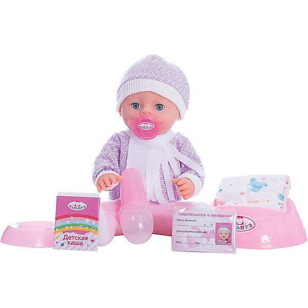 Пупс  40 см, 3 функции, пьет, писает, с дополнительной одеждой и аксессуарами.Куклы<br>Характеристики товара:<br><br>• в комплекте: кукла, одежда, горшок, бутылочка, соска, свидетельство о рождении;<br>• высота куклы: 40 см;<br>• возраст: от 3 лет;<br>• батарейки в комплекте;<br>• размер упаковки: 14х29х40 см;<br>• материал: пластик, текстиль;<br>• страна бренда: Россия.<br><br>Интерактивная кукла от торговой марки Карапуз порадует девочку своей реалистичностью. Пупс выглядит совсем как настоящий малыш и даже умеет пить и писать. В комплект входят дополнительные аксессуары: бутылочка, горшок, соска, комплект одежды, свидетельство. Девочка сможет переодеть карапуза после прогулки, напоить его из бутылочки и посадить на горшок. Если дать малышу соску, он сладко заснет. В свидетельство о рождении девочка сможет вписать имя, которое придумает для своего малыша. Пупс одет в костюмчик с теплым шарфом и шапочкой. <br><br>Пупса  40 см, 3 функции, пьет, писает, с дополнительной одеждой и аксессуарами, Карапуз можно купить в нашем интернет-магазине.<br>Ширина мм: 170; Глубина мм: 100; Высота мм: 400; Вес г: 1420; Возраст от месяцев: 36; Возраст до месяцев: 84; Пол: Унисекс; Возраст: Детский; SKU: 7233208;