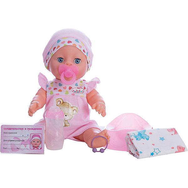 Пупс 30 см, 3 функции, пьет и писает, закрывает глазки с аксессуарами.Куклы<br>Характеристики товара:<br><br>• в комплекте: кукла, горшок, бутылочка, соска, свидетельство о рождении;<br>• высота куклы: 30 см;<br>• возраст: от 3 лет;<br>• размер упаковки: 15х29х27 см;<br>• материал: пластик, текстиль;<br>• страна бренда: Россия.<br><br>Интерактивный пупс от торговой марки Карапуз станет отличным подарком для девочки. Играя с куклой, девочка научится заботиться, нести ответственность, а также попробует побыть мамой маленького карапуза. В комплект входят дополнительные аксессуары: бутылочка, горшок, соска, свидетельство. Девочка сможет напоить пупса из бутылочки, усадить на горшок и малыш будет очень реалистично писать. После обеда девочка сможет дать крохе соску и уложить спать. Пупс одет в розовый костюмчик и шапочку.<br><br>Пупса 30 см, 3 функции, пьет и писает, закрывает глазки с аксессуарами, Карапуз можно купить в нашем интернет-магазине.<br>Ширина мм: 120; Глубина мм: 70; Высота мм: 300; Вес г: 800; Возраст от месяцев: 36; Возраст до месяцев: 84; Пол: Унисекс; Возраст: Детский; SKU: 7233209;