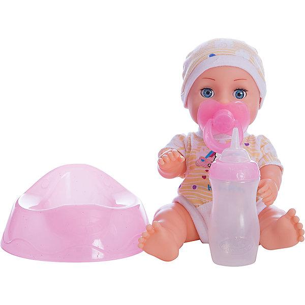 Пупс HELLO KITTY 20 см, 3 функции , пьет и писает, закрывает глазки.Куклы<br>Характеристики товара:<br><br>• в комплекте: кукла, одежда, аксессуары;<br>• высота куклы: 20 см;<br>• возраст: от 3 лет;<br>• размер упаковки: 11х21х22 см;<br>• материал: пластик, текстиль;<br>• страна бренда: Россия.<br><br>Пупс Hello Kitty - маленькая, удобная куколка, которую девочка всегда сможет взять с собой на прогулку. Пупс одет в яркий розовый костюмчик с котенком Hello Kitty и панамку в тон. В комплект входят необходимые аксессуары. Девочка сможет напоить малыша из бутылочка, и тогда малыш будет реалистично писать в свой горшок. Чтобы уложить пупса спать, можно дать ему соску. Когда девочка уложит пупса, он закроет глазки и сладко уснет. Игрушка прекрасно подходит для сюжетно-ролевых игр.<br><br>Пупса «Hello Kitty» (Хелло Китти) 20 см, 3 функции , пьет и писает, закрывает глазки, Карапуз можно купить в нашем интернет-магазине.<br>Ширина мм: 60; Глубина мм: 50; Высота мм: 200; Вес г: 410; Возраст от месяцев: 36; Возраст до месяцев: 84; Пол: Унисекс; Возраст: Детский; SKU: 7233210;