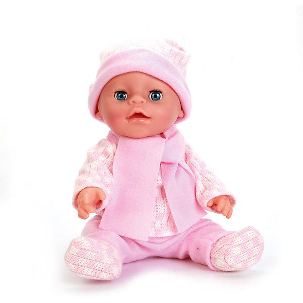 Пупс 30 см, 3 функции , пьет и писает, закрывает глазки , с аксессуарами.Куклы<br>Характеристики товара:<br><br>• в комплекте: кукла, соска, бутылочка, горшок, свидетельство, подгузник, браслетик;<br>• высота куклы: 30 см;<br>• возраст: от 3 лет;<br>• размер упаковки: 15х30х27 см;<br>• материал: пластик, текстиль;<br>• страна бренда: Россия.<br><br>Игрушка Пупс от торговой марки Карапуз очень похож на настоящего малыша, благодаря чему девочка сможет побыть в роли заботливой мамы. Пупс оснащен тремя функциями: пьет, писает, закрывает глаза. Чтобы пупс начал писать необходимо посадить его на горшок и напоить водой из бутылочки. Если девочка убаюкает карапуза, то он закроет глазки и заснет. Кроме того, девочка сможет надеть малышу подгузник и дать соску. Пупс одет в розовый костюмчик, теплую шапочку и шарф. В комплект входят дополнительные аксессуары: соска, горшок, бутылочка, свидетельство, подгузник и браслетик.<br><br>Пупс 30 см, 3 функции , пьет и писает, закрывает глазки , с аксессуарами, Карапуз можно купить в нашем интернет-магазине.<br>Ширина мм: 130; Глубина мм: 70; Высота мм: 300; Вес г: 830; Возраст от месяцев: 36; Возраст до месяцев: 84; Пол: Унисекс; Возраст: Детский; SKU: 7233211;