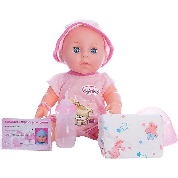 Пупс 30 см, 3 функции , пьет и писает, закрывает глазки , с аксессуарами.Куклы<br>Характеристики товара:<br><br>• в комплекте: кукла, соска, бутылочка, горшок, свидетельство;<br>• высота куклы: 30 см;<br>• возраст: от 3 лет;<br>• размер упаковки: 15х29х27 см;<br>• материал: пластик, текстиль;<br>• страна бренда: Россия.<br><br>Интерактивный пупс Карапуз порадует девочку своей реалистичностью. Пупс имеет черты лица, похожие на настоящего малыша. К тому же, интерактивная кукла умеет закрывать глазки, пить и писать в горшок. В комплект входят аксессуары, необходимые для заботы о малыше. Чтобы пупс мог писать, необходимо напоить его водичкой из бутылочки, входящей в комплект. Ручки и ножки куклы подвижны для придания позы, подходящей для игры. Девочка сможет придумать имя для своего Карапуза и вписать его в свидетельство о рождении. Чтобы малыш закрыл глазки, можно положить его в кровать или убаюкать на ручках. Пупс одет в розовый песочник с аппликацией и панамку в тон.<br><br>Пупса 30 см, 3 функции , пьет и писает, закрывает глазки , с аксессуарами, Карапуз можно купить в нашем интернет-магазине.<br>Ширина мм: 130; Глубина мм: 70; Высота мм: 300; Вес г: 800; Возраст от месяцев: 36; Возраст до месяцев: 84; Пол: Унисекс; Возраст: Детский; SKU: 7233214;