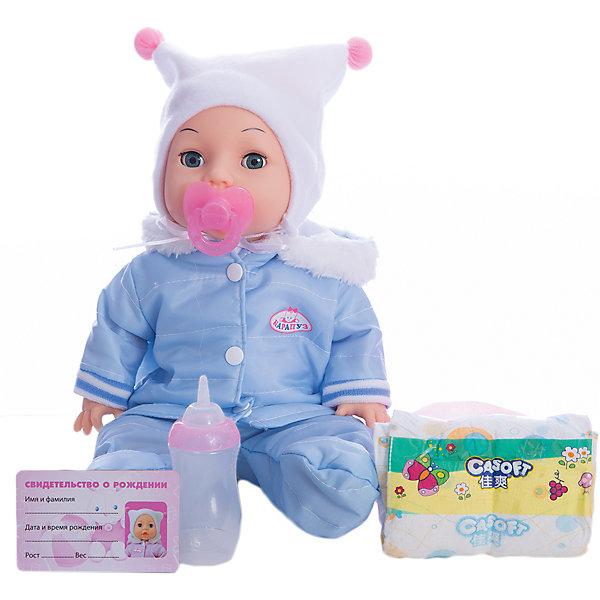 Пупс 35 см, 3 функции, пьет, писает, закрывает глазки, с аксессуарами.Куклы<br>Характеристики товара:<br><br>• в комплекте: кукла, соска, бутылочка, горшок, подгузник, свидетельство;<br>• высота куклы: 35 см;<br>• возраст: от 3 лет;<br>• размер упаковки: 16х36х30 см;<br>• материал: пластик, текстиль;<br>• страна бренда: Россия.<br><br>Интерактивный пупс от бренда Карапуз оснащен тремя функциями: закрывает глазки, пьет и писает. В комплект входят аксессуары, необходимые для игры: пустышка, бутылочка, горшок, подгузник и свидетельство о рождении. Девочка заботливо покормит пупса и малыш тут же пописает в свой горшок или подгузник. В свидетельство пупса можно вписать имя, выбранное девочкой. Если уложить пупса на спинку, он закроет глазки и сладко уснет. Руки и ноги куклы подвижны, благодаря чему ее удобно раздевать и придавать позы, подходящие для игрового сюжета. Пупс одет в теплый костюмчик и шапочку с помпонами.<br><br>Пупса 35 см, 3 функции, пьет, писает, закрывает глазки, с аксессуарами, Карапуз можно купить в нашем интернет-магазине.<br>Ширина мм: 110; Глубина мм: 80; Высота мм: 350; Вес г: 1140; Возраст от месяцев: 36; Возраст до месяцев: 84; Пол: Унисекс; Возраст: Детский; SKU: 7233216;