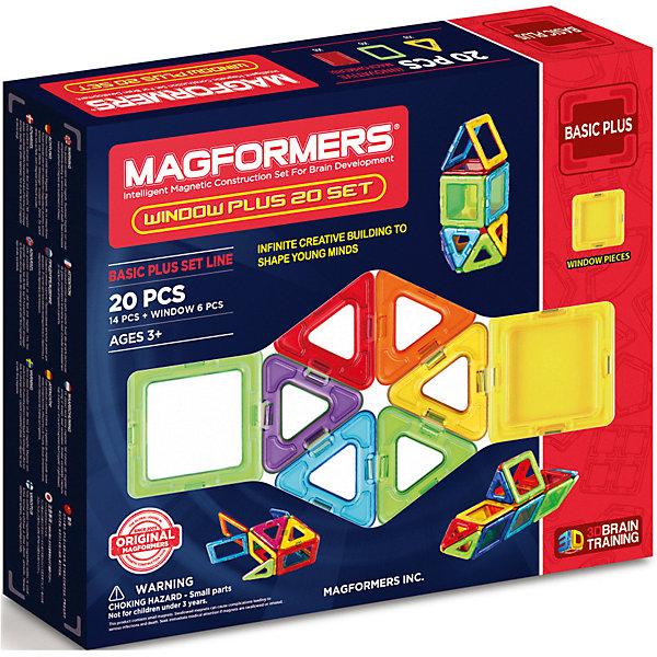 Магнитный конструктор в комплекте симка 715001 Window Plus Set 20 set, MAGFORMERSМагнитные конструкторы<br>Характеристики товара:<br><br>• возраст: от 3 лет;<br>• материал: пластик;<br>• в комплекте: 20 деталей, инструкция;<br>• размер упаковки: 24х28х5 см;<br>• вес упаковки: 550 гр.;<br>• страна производитель: Корея.<br><br>Магнитный конструктор Window Plus Set 20 set Magformers позволит детям построить из элементов разнообразные фигурки, дома, башни, машины, животных. Детали конструктора соединяются между собой благодаря магнитам. Магниты внутри деталей уже сделаны таким образом, что позволяют элементам присоединяться и поворачиваться друг к другу нужной стороной.<br><br>В набор входит инструкция, фигурка Симка, которая поможет малышам создать свои первые фигурки. Конструктор развивает у детей пространственное и логическое мышление, мелкую моторику рук, воображение и фантазию. Элементы выполнены из прочного качественного пластика.<br><br>Магнитный конструктор Window Plus Set 20 set Magformers можно приобрести в нашем интернет-магазине.<br><br>Ширина мм: 240<br>Глубина мм: 50<br>Высота мм: 28<br>Вес г: 550<br>Цвет: оранжевый<br>Возраст от месяцев: 36<br>Возраст до месяцев: 168<br>Пол: Унисекс<br>Возраст: Детский<br>SKU: 7234438