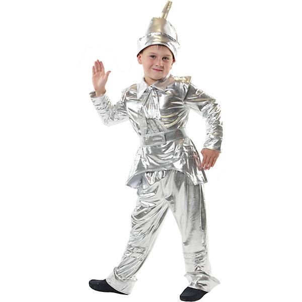Железный дровосекКарнавальные костюмы для мальчиков<br>Головной убор, рубаха, штаны, шарф, пояс; состав: Стрейч-парча (95% полиэстер, 5% эластан)<br>Ширина мм: 450; Глубина мм: 80; Высота мм: 350; Вес г: 250; Возраст от месяцев: 84; Возраст до месяцев: 96; Пол: Мужской; Возраст: Детский; Размер: 128; SKU: 7234453;
