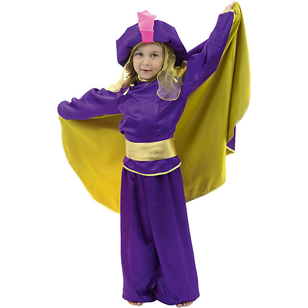 Восточный принц фиолетовыйКарнавальные костюмы для мальчиков<br>Шаровары, рубашка, плащ, чалма, пояс; состав: Крепсатин (100% полиэстер)<br>Тафета (100% полиэстер)<br>Органза (100% полиэстер)<br><br>Ширина мм: 450<br>Глубина мм: 80<br>Высота мм: 350<br>Вес г: 250<br>Возраст от месяцев: 36<br>Возраст до месяцев: 48<br>Пол: Мужской<br>Возраст: Детский<br>Размер: 104,116<br>SKU: 7234471