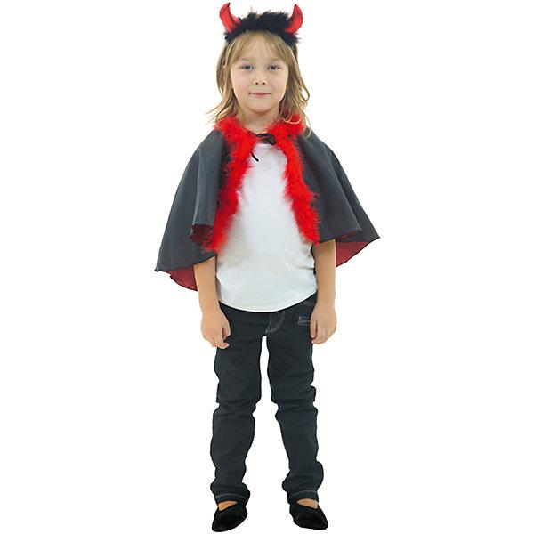 ЧертикКарнавальные костюмы для девочек<br>Ободок, накидка; состав: Крепсатин (100% полиэстер)<br>Ширина мм: 450; Глубина мм: 80; Высота мм: 350; Вес г: 250; Возраст от месяцев: 60; Возраст до месяцев: 72; Пол: Унисекс; Возраст: Детский; Размер: 116; SKU: 7234506;