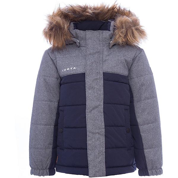 Куртка Luhta для мальчикаВерхняя одежда<br>Характеристики товара:<br><br>• цвет: синий<br>• состав ткани: 100% полиэстер<br>• подкладка: 100% полиэстер<br>• утеплитель: 100% полиэстер<br>• сезон: зима<br>• температурный режим: от -20 до +5<br>• плотность утеплителя: 250 г/м2<br>• капюшон: съемный<br>• застежка: молния<br>• встроенный датчик температуры<br>• страна бренда: Финляндия<br>• страна изготовитель: Китай<br><br>Зимняя куртка Luhta для мальчика сделана легкого, но теплого материала. Верх детской зимней куртки обеспечит защиту от холода. Детская куртка для зимы дополнена отстегивающимся капюшоном, планкой от ветра, эластичной резинкой на рукавах, утяжкой по подолу, удобными карманами. Эта куртка для ребенка отличается стильным дизайном. <br><br>Куртку Luhta (Лухта) для мальчика можно купить в нашем интернет-магазине.<br>Ширина мм: 356; Глубина мм: 10; Высота мм: 245; Вес г: 519; Цвет: синий; Возраст от месяцев: 24; Возраст до месяцев: 36; Пол: Мужской; Возраст: Детский; Размер: 98,122,116,110,104; SKU: 7235746;
