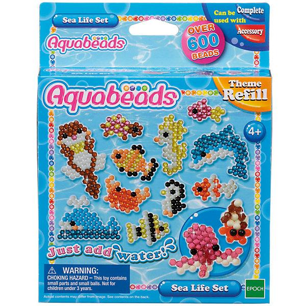 Мозаика из бусин Aquabeads Морские животныеМозаика детская<br>Создавай морских животных из бусин Aquabeads, в том числе дельфинов, морских коньков, пингвинов и даже осьминогов! В комплект входят более 600 бусин 9 разных цветов, а также 4 листа шаблонов. <br>Для игры требуется аксессуар Форма для бусин, в комплект не входит. Для игры также могут понадобиться такие аксессуары, как Ручка для бусин, Гребешок и Бутылочка-распылитель для воды, в комплект не входят.<br><br>Ширина мм: 30<br>Глубина мм: 140<br>Высота мм: 180<br>Вес г: 110<br>Возраст от месяцев: 48<br>Возраст до месяцев: 144<br>Пол: Унисекс<br>Возраст: Детский<br>SKU: 7236010