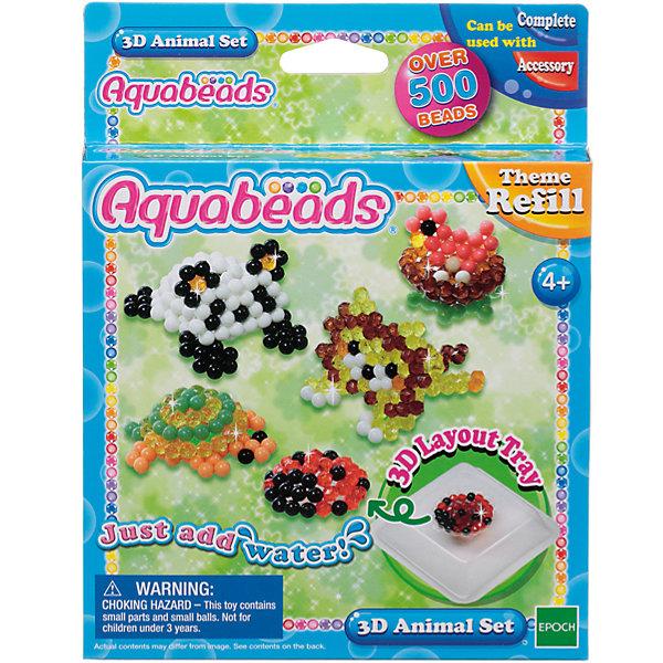 Мозаика из бусин Aquabeads Зверюшки в 3DМозаика детская<br>С помощью данного набора можно собрать невероятных зверюшек в 3D! Добавьте в коллекцию Aquabeads объемных фигурок черепашки, льва, панды и многих других. В комплект входят более 500 бусин 9 разных цветов, 4 листа шаблонов и специальная формочка 3D для объемных фигурок. <br>Для игры требуется аксессуар Форма для бусин, в комплект не входит. Для игры также могут понадобиться такие аксессуары, как Ручка для бусин, Гребешок и Бутылочка-распылитель для воды, в комплект не входят.<br><br>Ширина мм: 30<br>Глубина мм: 140<br>Высота мм: 180<br>Вес г: 110<br>Возраст от месяцев: 48<br>Возраст до месяцев: 144<br>Пол: Унисекс<br>Возраст: Детский<br>SKU: 7236011